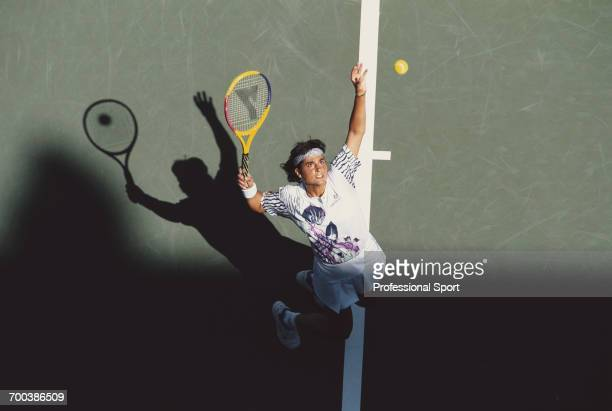 Argentine tennis player Gabriela Sabatini pictured in action during competition to reach the semifinals of the 1994 US Open Women's singles tennis...