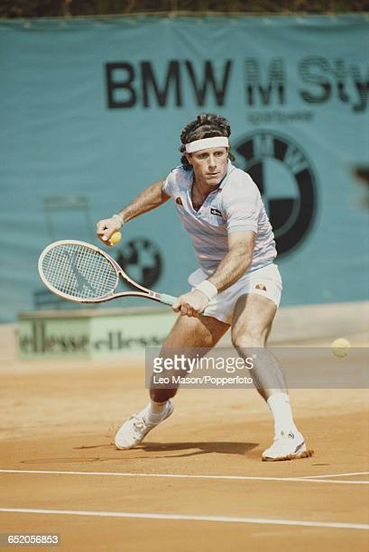 Argentine tennis player Guillermo Vilas pictured in action competing to reach the quarterfinals of the Men's Singles tournament at the 1983 Monte...