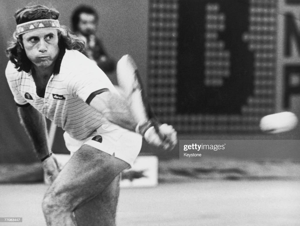 Argentine tennis player Guillermo Vilas takes part in the French Open at the Roland Garros Stadium, Paris, 25th May 1982.