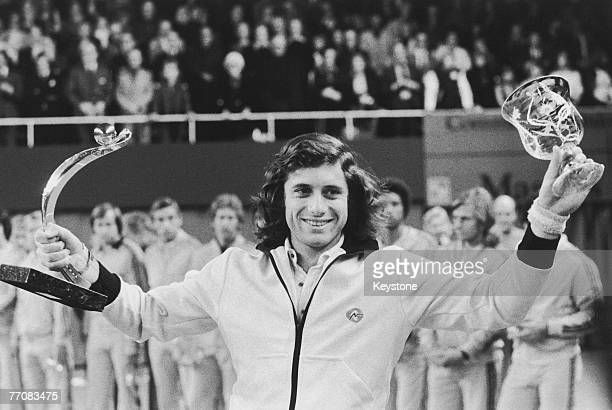 Argentine tennis player Guillermo Vilas wins the Masters Tournament in Stockholm 4th December 1975