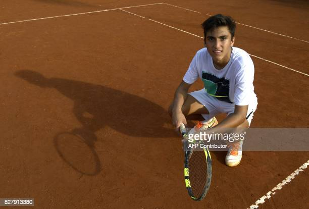 Argentine tennis player Roman Burruchaga son of former footballer Jorge Burruchaga poses after a training session in Vicente Lopez Buenos Aires on...