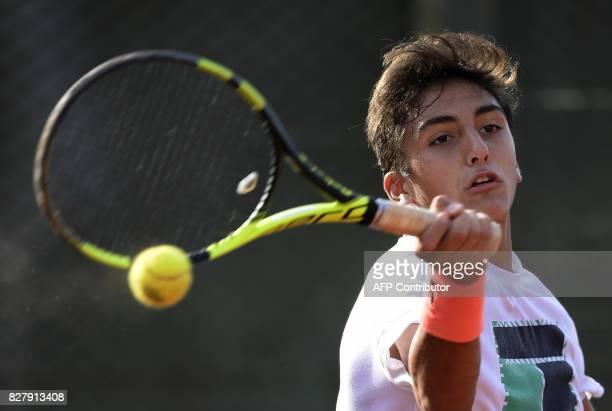 Argentine tennis player Roman Burruchaga son of former footballer Jorge Burruchaga hits the ball during a training session in Vicente Lopez Buenos...
