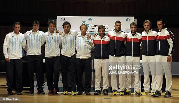 Argentine tennis players David Nalbandian Carlos Berlocq Horacio Zeballos Juan Monaco and team captain Martin Jaite pose next to France tennis...