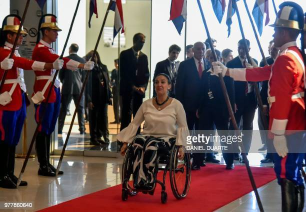 Argentine VicePresident Gabriela Michetti arrives for the Mercosur Summit in Luque Paraguay on June 18 2018 During the South American trading bloc's...