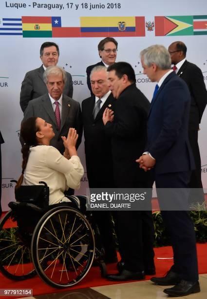 Argentine VicePresident Gabriela Michetti Uruguay's President Tabare Vazquez Brazil's President Michel Temer Paraguay's President Horacio Cartes and...