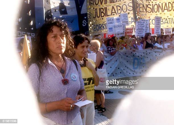 Argentine women walk in the May Square in Buenos Aires Argentina 08 March 2001 in celebration of the International Women Day Mujeres argentinas...