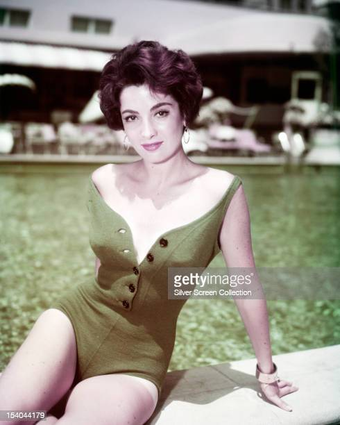 ArgentineAmerican actress Linda Cristal in a green onepiece swimsuit circa 1958