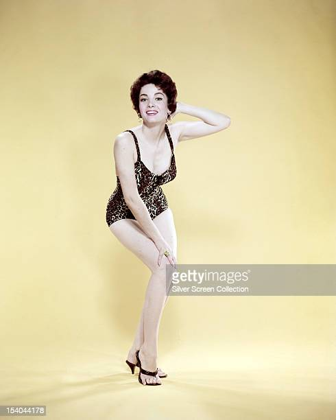 ArgentineAmerican actress Linda Cristal in a leopardprint onepiece swimsuit circa 1958