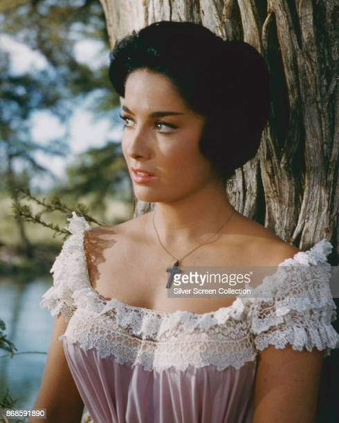 ArgentineAmerican actress Linda Cristal leans against a tree in a scene from the film 'The Alamo' 1960