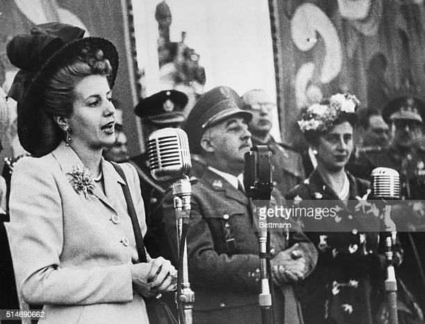 Argentinean first lady Eva Peron speaks at the celebrations of the festival of the Virgin of Paloma during her first visit to Madrid | Location...