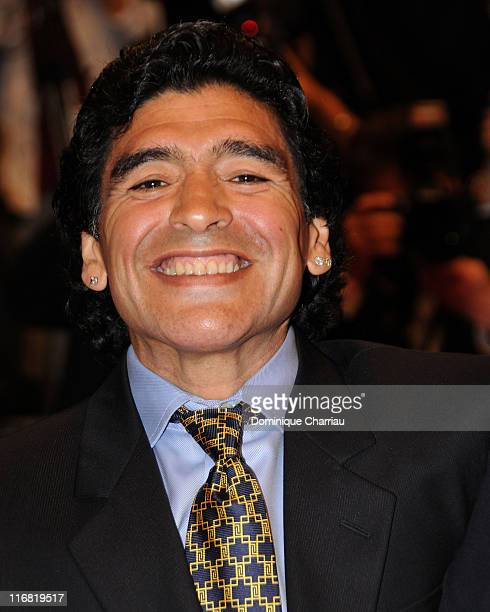 Argentinean football legend Diego Armando Maradona attends the 'Maradona' premiere at the Palais des Festivals during the 61st Cannes International...