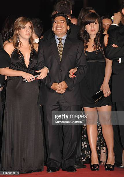 Argentinean football legend Diego Armando Maradona with daughters Dalma Nerea and Giannina Dinorah attend the 'Maradona' premiere at the Palais des...