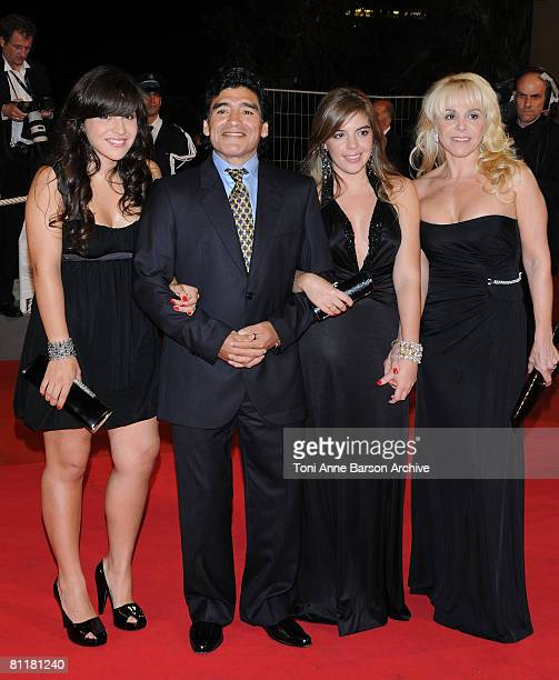 Argentinean football legend Diego Armando Maradona with his former wife Claudia Villafane and daughters Dalma Nerea and Giannina Dinorah attend the...