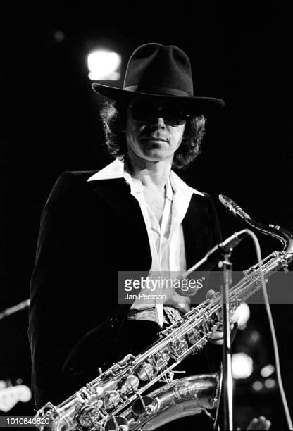 Argentinean jazz saxophonist Gato Barbieri performing in Copenhagen October 1974