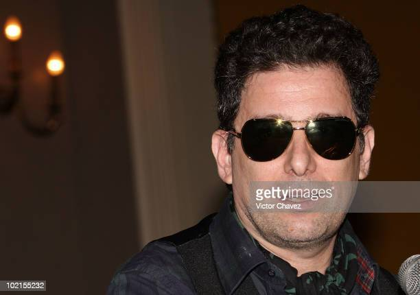 Argentinean singer Andres Calamaro speaks during a press conference to promote his album On The Rock at Teatro Metropolitan on June 16 2010 in Mexico...