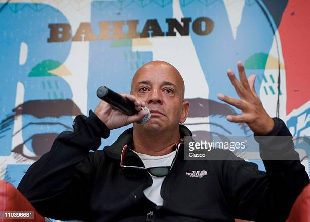 Argentinean singer Bahiano speaks during a press conference to present his new album Rey Mago de las Nubes at Sony Music on March 13 2011 in Mexico...