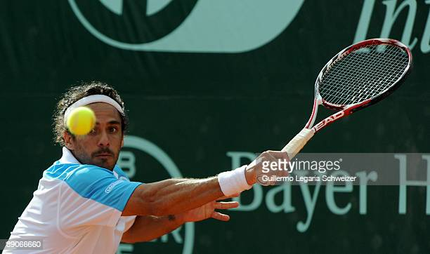 Argentinean tennis player Mariano Zabaleta in action during an Open Seguros Bolivar Bogota 2009 match against Marcos Daniel of Brazil on July 16 2009...