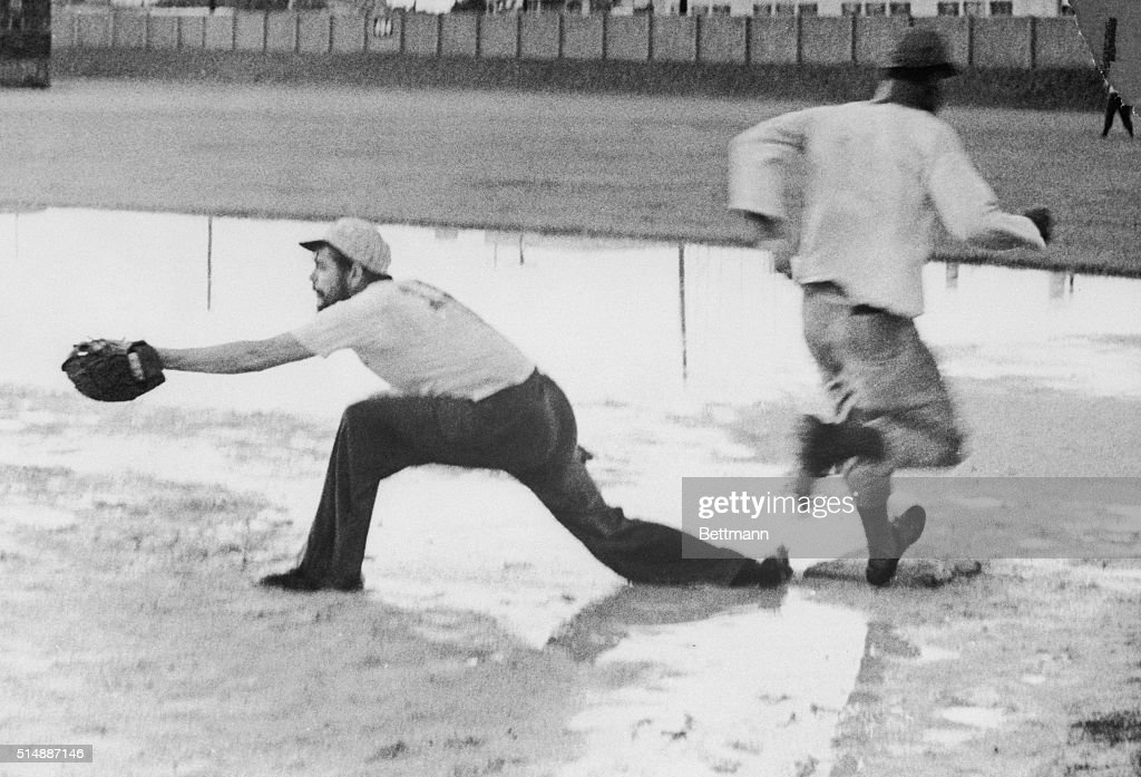 He was also a keen sportsman pictured here - perhaps also surprisingly - playing baseball