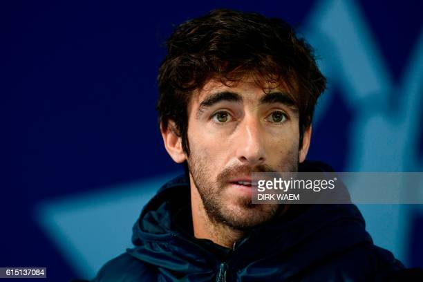 Argentine-born Uruguayan tennis player Pablo Cuevas attends a press conference on the first day of the first edition of the ATP European Open Antwerp...