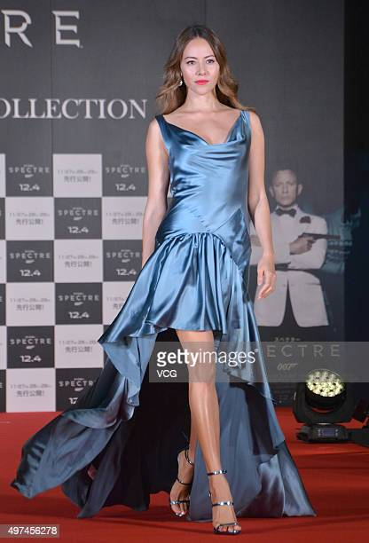 ArgentineJapanese fashion model Jessica Michibata showcases designs on the runway at Tokyo Bond Girl Collection for '007 Spectre' on November 16 2015...