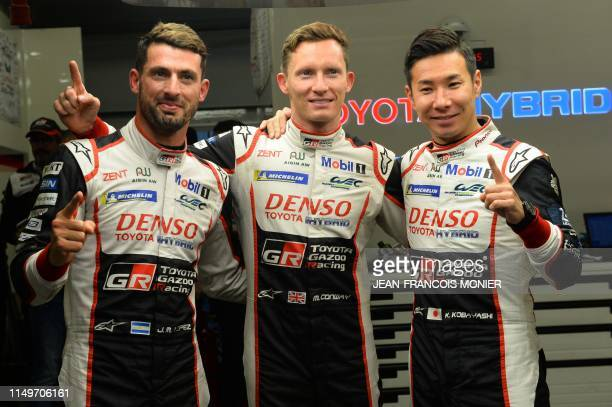 Argentine's driver Jose Maria Lopez British's driver Mike Conway and Japan's driver Kamui Kobayashi react on June 14 after Japan's driver Kamui...