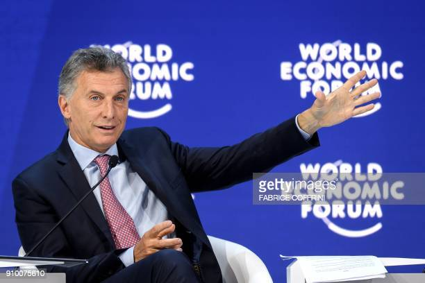 Argentine's President Mauricio Macri talks during a session at the Economic Forum annual meeting on January 25 2018 in Davos eastern Switzerland The...