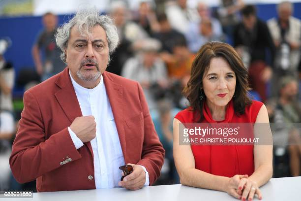 Argentinian actor Claudio Rissi and Chilean actress Paulina Garcia pose on May 26 2017 during a photocall for the film 'La Novia del Desierto' at the...
