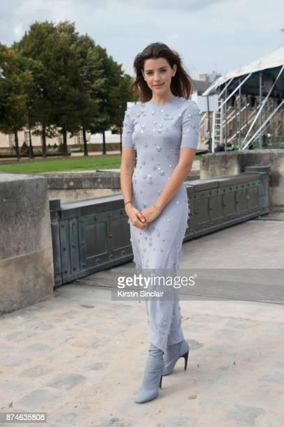 Argentinian actress Calu Rivero wears a Nina Ricci dress and boots day 4 of Paris Womens Fashion Week Spring/Summer 2018 on September 29 2017 in...