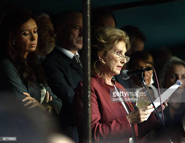 Argentinian actress Norma Aleandro reads a statement condemning terrorist attacks in Madrid during a demonstration 12 March 2004 in downtown Buenos...