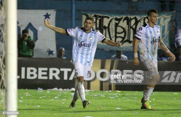 Argentinian Atletico Tucuman player David Barbona celebrates after scoring against Bolivian Wilstermann during their Libertadores Cup football match...