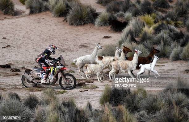 TOPSHOT Argentinian biker Diego Martin Duplessis competes during Stage 7 of the 2018 Dakar Rally between La Paz and Uyuni Bolivia on January 13 2018...