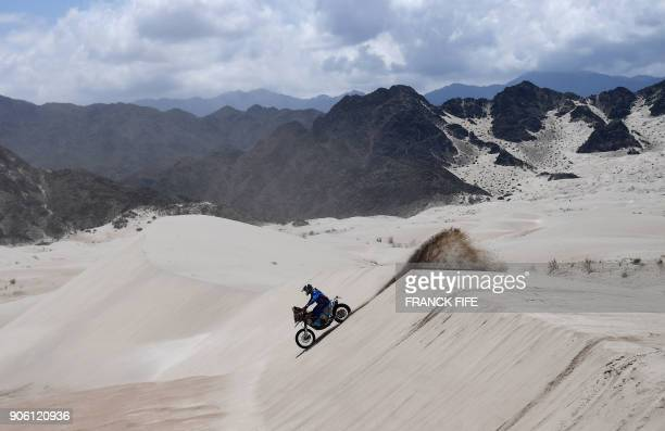 Argentinian biker Leandro Bertona Altieri powers his KTM during the Stage 11 of the 2018 Dakar Rally between Belen and Chilecito in Argentina on...