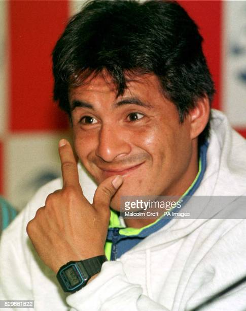 Argentinian boxer Remigio Molina makes his point at a news conference in Manchester today where he will fight Prince Naseem Hamed on Saturday. PA...