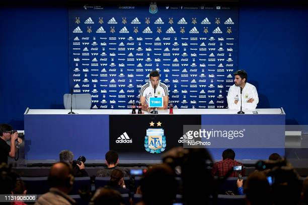 Argentinian coach Lionel Scaloni during press conference the day before friendly match between Argentina and Venezuela at Wanda Metropolitano in...