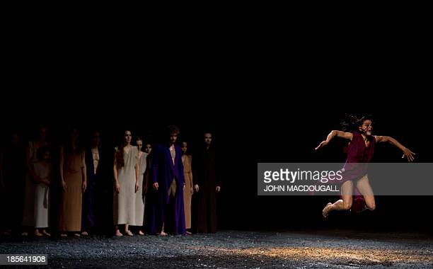 Argentinian dancer Maria Colusi performs in Igor Stravinsky's Le Sacre du Printemps choreographed by Sasha Waltz during a dress rehearsal of Sacre at...