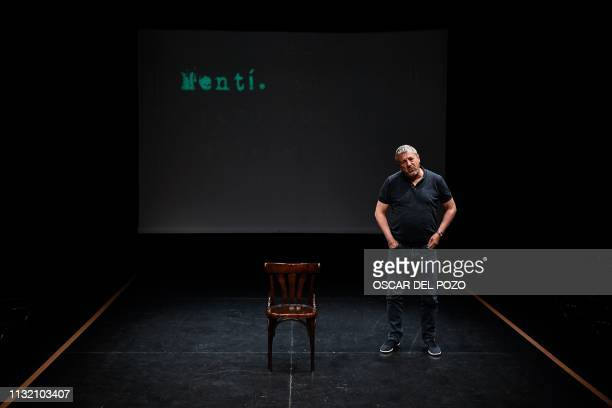 Argentinian doctor Marcos Hourmann the only doctor convicted of euthanasia in Spain plays the role of himself during a rehearsal at the Teatro del...