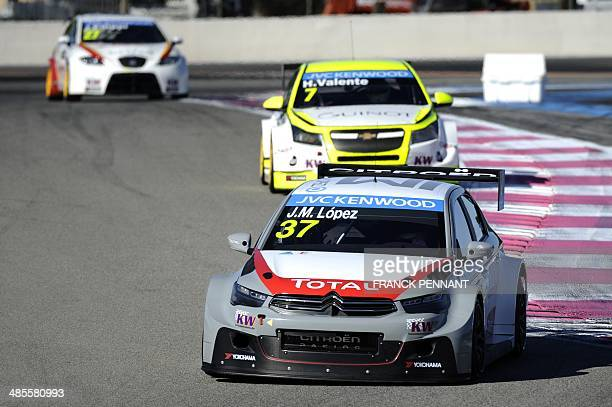 Argentinian driver Jose Maria Lopez in a Citroen Racing CElysee takes part in a training session as part of the FIA World Touring Car Championship on...