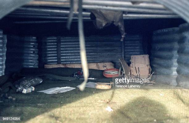 Argentinian dug out position left behind after the recapture of Port Stanley by British troops during the Falklands War June 1982
