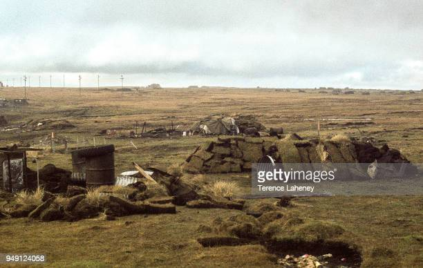 Argentinian dug out positions left behind after the recapture of Port Stanley by British troops during the Falklands War June 1982
