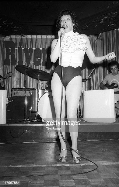 Argentinian exotic dancer Fanne Foxe sings stage at the Riverboat nightclub during rehearsals for her new act New York New York January 1976