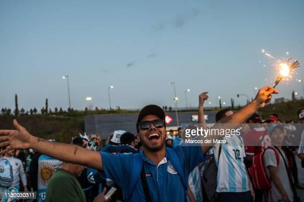 Argentinian fan shouting ahead of friendly football match between Argentina and Venezuela in Wanda Metropolitano Stadium