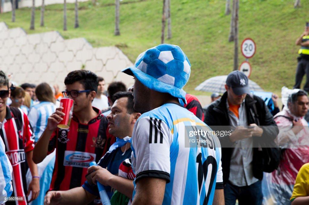 Argentinischen Fans gehen entsprechend in die WM 2014 : Stock-Foto