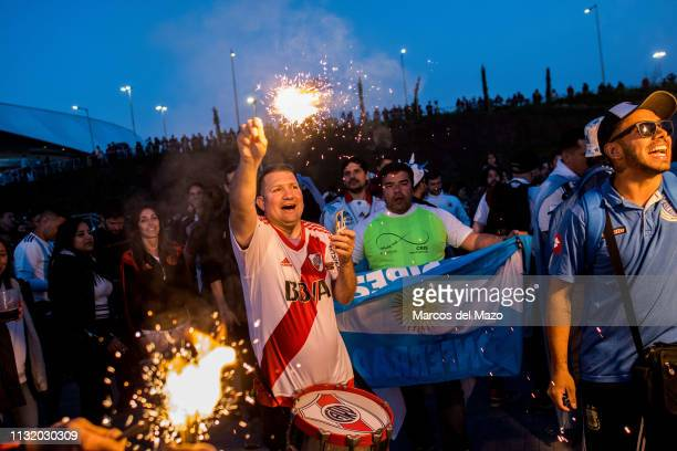 Argentinian fans shouting ahead of friendly football match between Argentina and Venezuela in Wanda Metropolitano Stadium