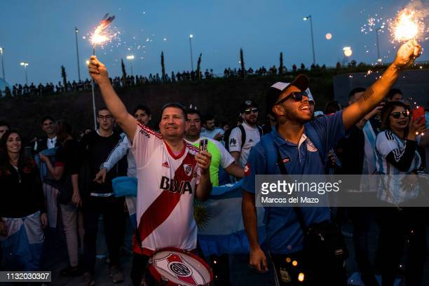 Argentinian fans with flares ahead of friendly football match between Argentina and Venezuela in Wanda Metropolitano Stadium