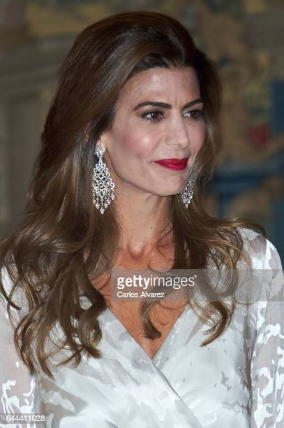 Argentinian First Lady Juliana Awada attends a reception in honour of Spanish Royals at El Pardo Palace on February 23 2017 in Madrid Spain