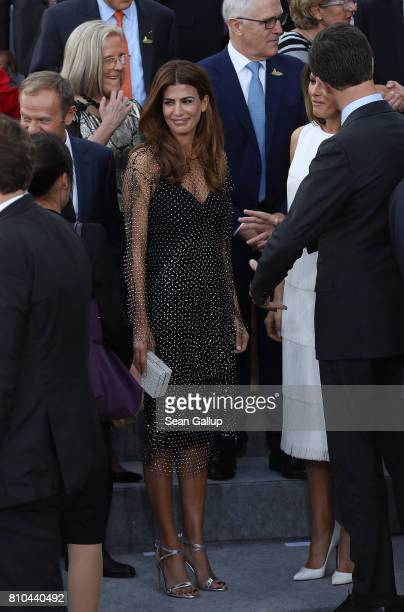 S Argentinian First Lady Juliana Awada chats with leaders and theur spouses at a reception outside the Elbphilharmonie philharmonic concert hall on...