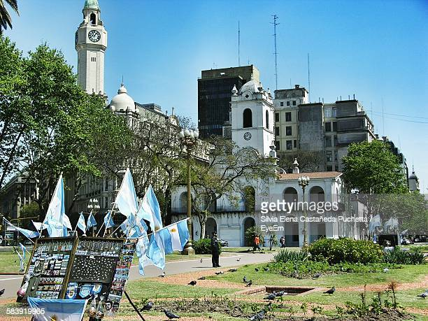Argentinian Flags In Buenos Aires Cabildo Against Sky