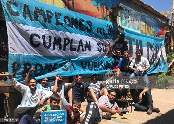 Argentinian football fans and amateur footballers who traveled to La Paz Bolivia for the last FIFA World Cup Russia 2018 qualifying match Bolivia vs...