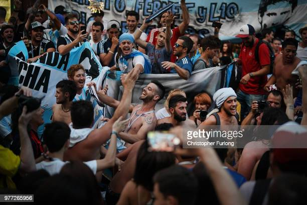 Argentinian football fans enjoy the World Cup party atmosphere on Nikolskaya Street near Red Square on June 17 2018 in Moscow Russia Today saw the...