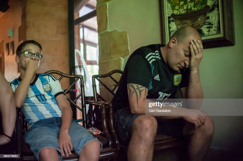 Argentinian Fans Watch The Worldcup in Irun